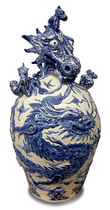 Dragons of Ming vase, front view