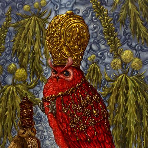 Koning Bubo bubo De Rode en zijn adviseurs